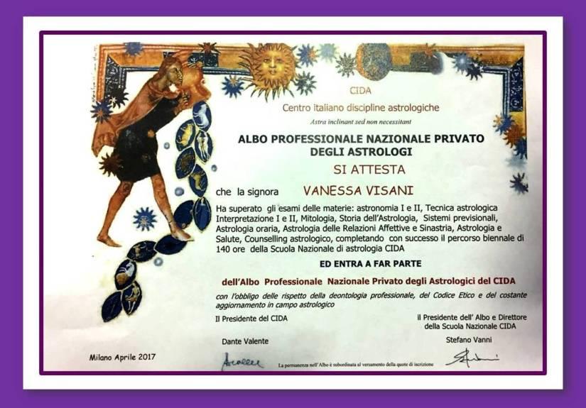 Diploma Albo Professionale Nazionale Privato degli Astrologi CIDA